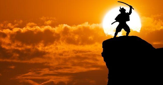 Samurai,On,Top,Of,Mountain.,Conceptual,Design.